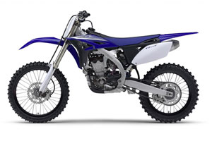 Yamaha's 2010 model YZ250F in blue has aggressive new styling and an all-new chassis