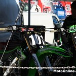 Georgey's Monster-supported Kawasakis await the action on a cold morning in Wodonga.