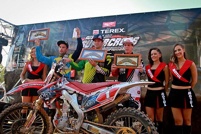 Long stood alongside Gavin Faith and Luke Styke on the ASX round one podium in Darwin. Image: Grant Reynolds/FiftySix Clix.