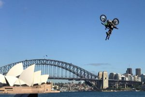 FMX regulars perform on Sydney Harbour ahead of AUS-X Open