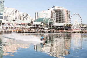Maddison completes Darling Harbour water-bike display
