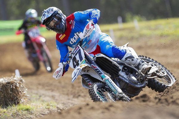 Waters edges Metcalfe in MX1 moto one at Gympie national